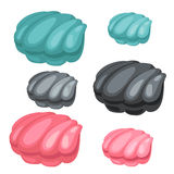 三颗珍珠壳蓝色,黑和桃红色颜色 免版税库存图片