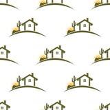 沙漠家庭无缝的样式背景 免版税库存图片