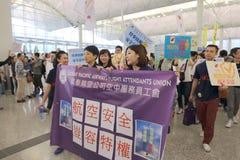 抗议首席执行官行李事件在香港机场 库存图片