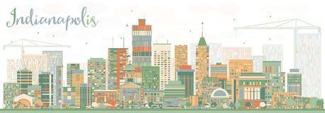 与颜色大厦的抽象印第安纳波利斯地平线 免版税库存照片