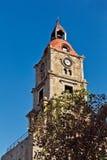 时钟中世纪塔 免版税库存照片
