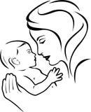 μητέρα μωρών μαύρο λευκό Στοκ εικόνα με δικαίωμα ελεύθερης χρήσης