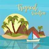 海滩假期热带天堂 异乎寻常的海岛棕榈树 免版税库存图片