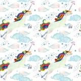 与飞行独角兽、彩虹、不可思议的云彩和雨的水彩童话无缝的样式 库存图片
