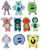 套逗人喜爱的五颜六色的妖怪动画片汇集外籍人 库存照片