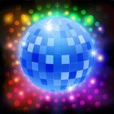 Шарик диско зеркала на сияющей ретро предпосылке Стоковая Фотография