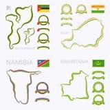 莫桑比克、尼日尔、纳米比亚和毛里塔尼亚的颜色 图库摄影