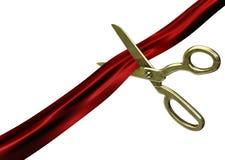 剪切红色丝带剪刀 库存照片