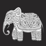 Винтажный индийский слон с племенными орнаментами Приветствие мандалы Стоковые Фотографии RF