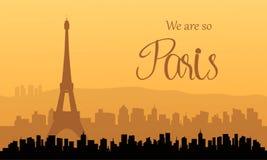 巴黎剪影日落的 免版税库存图片
