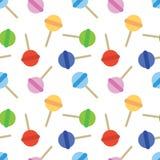 无缝的甜点色的棒棒糖糖果样式 库存图片