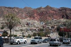交通堵塞在拉巴斯市,玻利维亚 免版税库存照片