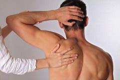 按摩脊柱治疗者,整骨疗法 做在人的后面的治疗师医治用的治疗 替代医学,镇痛 免版税库存照片