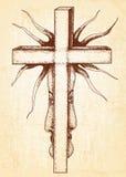 Готическая абстракция с крестом на предпосылке холста Стоковое Фото