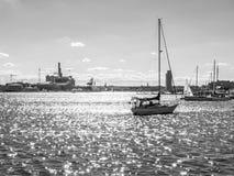 黑白巴尔的摩的港口 免版税库存照片