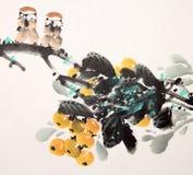 中国墨水绘画鸟和植物 库存图片