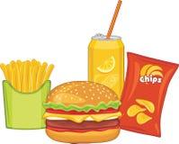Γρήγορο φαγητό Χάμπουργκερ, πορτοκαλί ποτό, τσιπ πατατών και τηγανιτές πατάτες Στοκ φωτογραφία με δικαίωμα ελεύθερης χρήσης