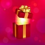 Подарочная коробка вектора открытая с лентой и смычком золота Стоковые Изображения