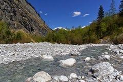 在瓦茨曼东部面孔谷的山小河  免版税库存图片
