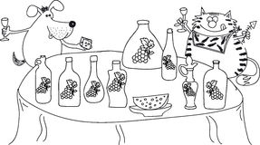 Кот и собака сидя на таблице, вино питья, сыр Стоковое Изображение