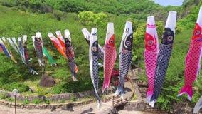 日本鲤鱼风筝飘带 影视素材