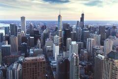 空中芝加哥伊利诺伊视图 库存照片