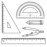 Σύνολο μέτρησης των εργαλείων: κυβερνήτες, τρίγωνα, μοιρογνωμόνιο, μολύβι και ζευγάρι των πυξίδων Διανυσματικά όργανα που απομονώ Στοκ Εικόνες