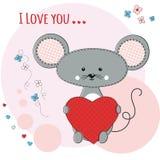 与心脏的逗人喜爱的老鼠 库存图片