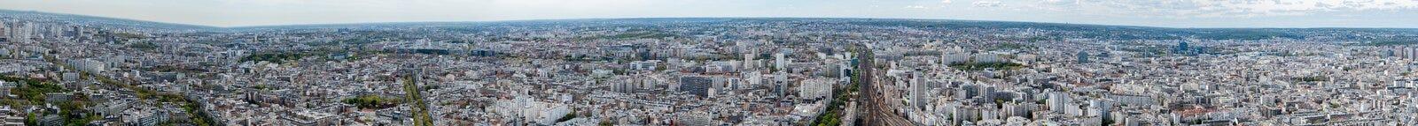 Εναέριο πανόραμα άποψης εικονικής παράστασης πόλης του Παρισιού Στοκ Φωτογραφία