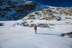 Γυναίκα οδοιπορίας που περπατά στο χιόνι Στοκ Εικόνα
