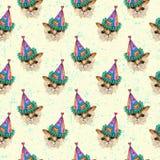 在党帽子无缝的样式的水彩小猫 免版税库存图片
