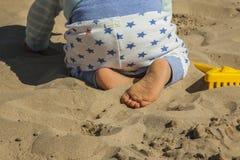 关闭使用与沙子玩具的男婴在海滩 查出的背面图白色 图库摄影
