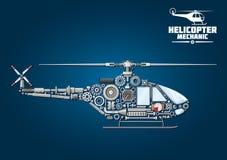 机械详细的直升机剪影  库存图片