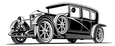 葡萄酒黑经典汽车大型高级轿车传染媒介例证 免版税库存照片
