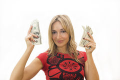 деньги девушки Стоковое Фото