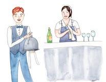 套职员餐馆工作者:专业侍者和女孩侍酒者 图库摄影