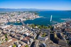 Εναέρια άποψη της πόλης της Γενεύης - Ελβετία Στοκ Φωτογραφία