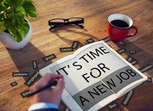 是新的工作事业就业概念的时间 免版税库存图片