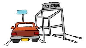 在推车回归旁边停放的汽车 免版税图库摄影