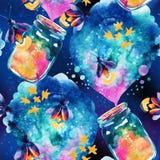 与不可思议的瓶和萤火虫的抽象童话背景 库存图片