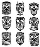 Племенная страшная иллюстрация талисмана черепа хеллоуина Стоковые Изображения RF