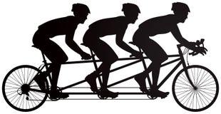 自行车使竟赛者传染媒介剪影成三倍 免版税库存照片