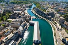 Εναέρια άποψη της πόλης της Γενεύης - Ελβετία Στοκ Εικόνα