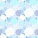 蓝色玫瑰无缝的柔和的淡色彩色的样式 免版税图库摄影