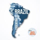 导航南美详细的地图有边界和国名的 图库摄影