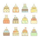 被设置的逗人喜爱的手拉的乱画蛋糕 免版税库存照片