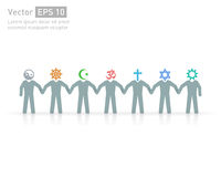 不同的宗教的人们 宗教传染媒介标志和字符 友谊和和平不同的信条的 免版税图库摄影