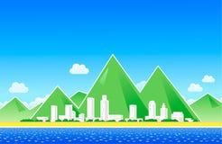 Город около пляжа Стоковые Фотографии RF