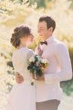 肉欲的美丽的年轻白肤金发的新娘和英俊的新郎面对面在公园特写镜头的日落 免版税库存照片