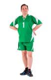 在绿色运动服摆在打扮的成熟人 图库摄影